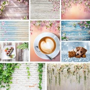 Image 1 - Ahşap zemin fotoğraf arka planında çiçek yeşil bitki tuğla doku arka plan gıda doğum günü bebek duş dekor için fotoğraf stüdyosu