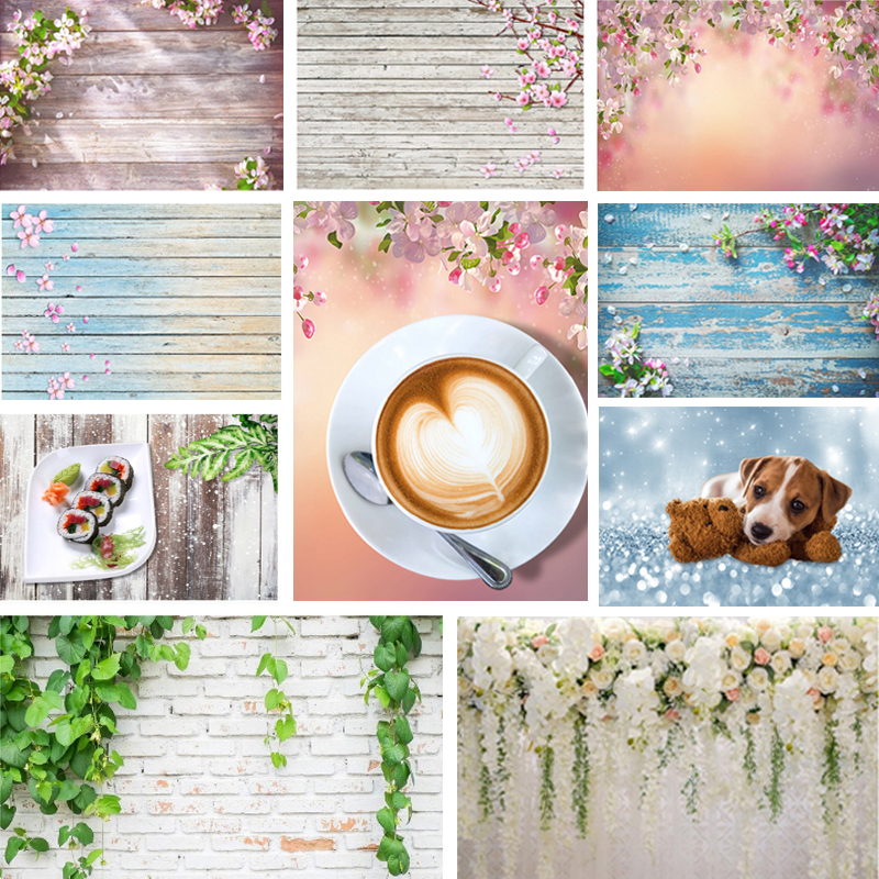 Wood Floor Photography Backdrops Flower Green Plant Brick Texture Background Food Birthday Baby Shower Decor For Photo Studio
