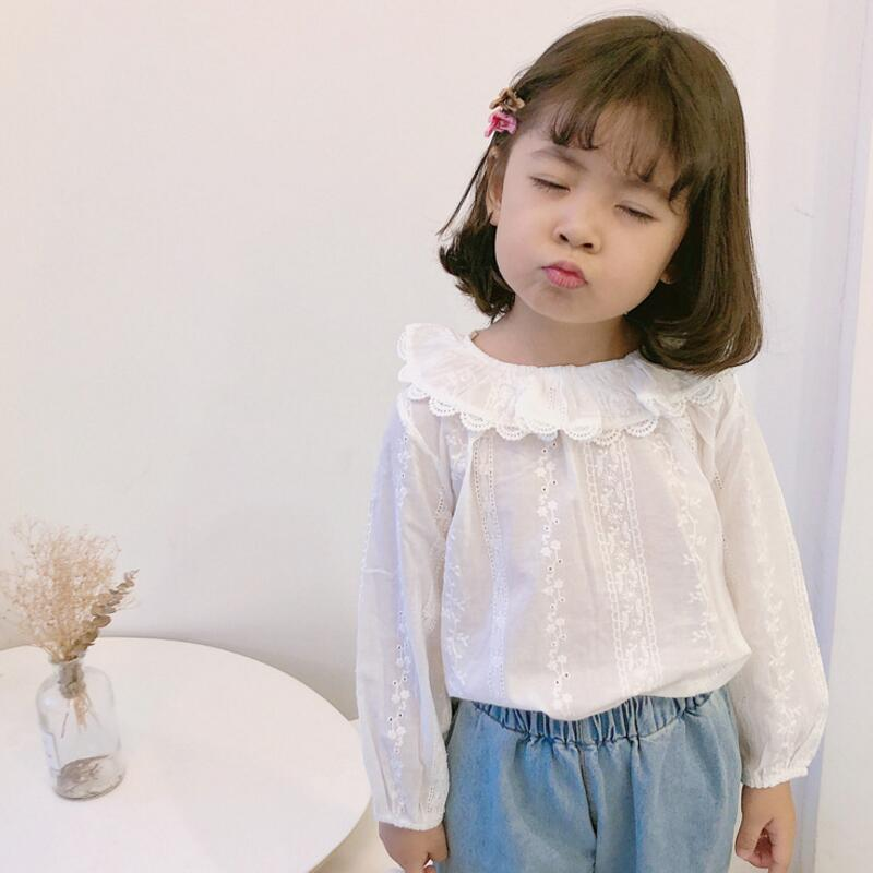Girls Top Long Sleeve Decorated Lace Shirt Children Casual Cotton Kids Blouse