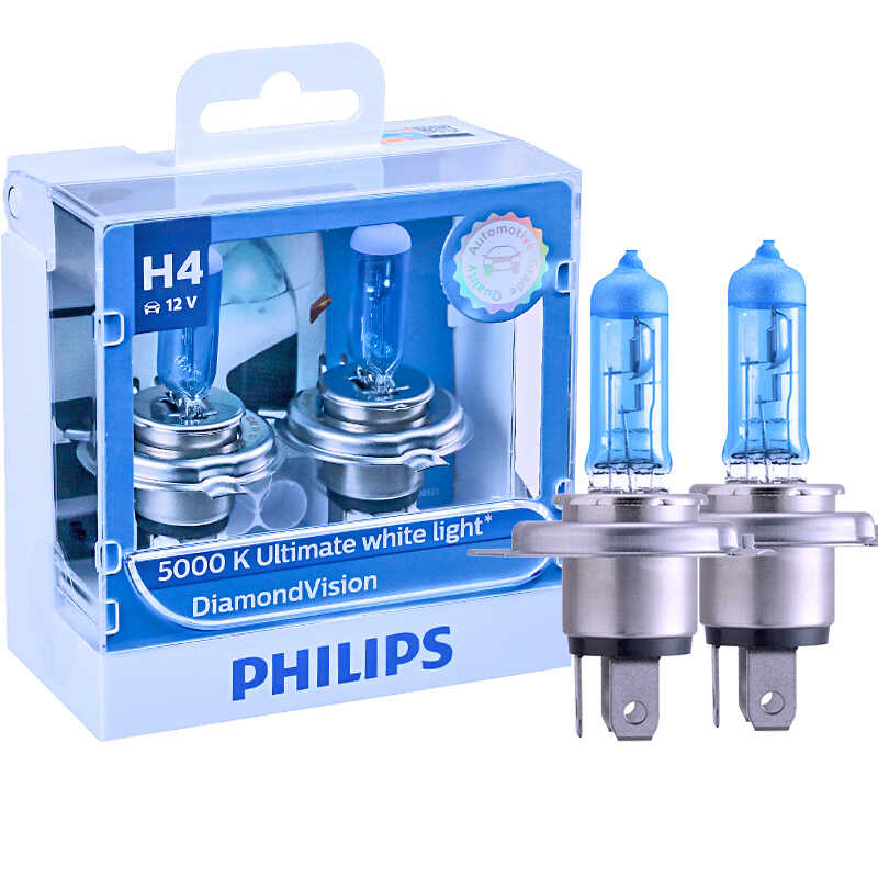 Philips H1 H4 H7 H8 H11 HB3 HB4 9003 9005 9006 12V Diamond Vision 5000K Car Halogen Head Light Fog Lamps Xenon White Bulbs, Pair