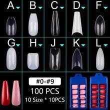 100pcs/set Full Cover Short False Nail Tips Ballerina Coffin Fake Nails Square Stiletto French Acrylic Press On Nails 10 Sizes