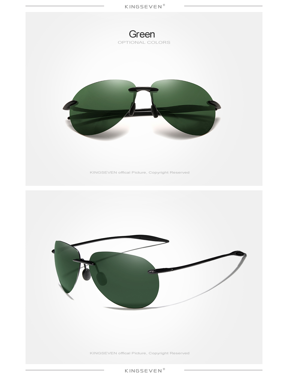 H991f801b744f478ead904ede8c51dd9cJ - KINGSEVEN Ultralight TR90 Rimless Sunglasses Men High Quality Frameless Sun Glasses For Women Oculos Feminino