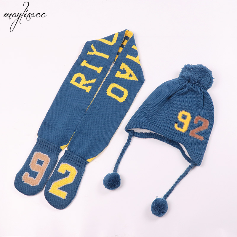 1-5 Years Old Children's Hat 92 Earmuff Scarf With Gloves 3 Pcs Set Baby Hat Scarf Set Warm Knitted Hat Scarf For Boys Girls