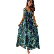 Beach Boho Floral Print Dresses for women 2021 Sexy Sleeveless Loose A-Line Lady Dress Summer Women Casual Dresses Vestidos D30