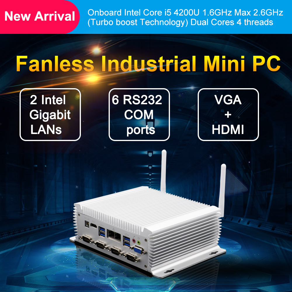 Eglobal Intel Core Mini Industrial Pc Dual Nuc I7 4500U Windows Linux Fanless Industrial Computer Rs232 R485 Com Dual I5 4200U