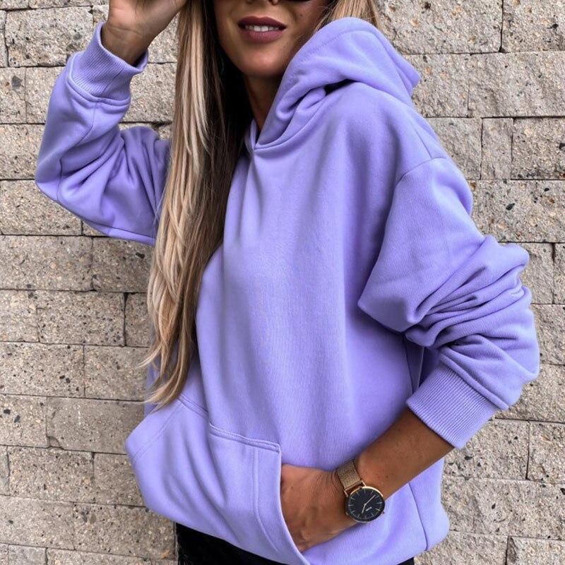 Autumn Purple Hooded Women Sweatshirt Hoodies Casual Long Sleeve Ladies Sweatshirts 2020 Streetwear Pocket Female Pullovers 1