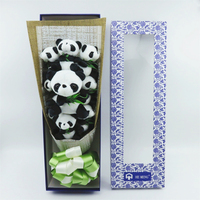 Lovely panda eat bamboo plush toys stuffed animals bouquets gift box creative Valentine's Day graduation birthday gifts