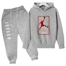 Hot Boys Hooded Sweater Suit 23 Sportswear Pullover Girl Sweatshirt + Sweatpants Jogging Kid Sports Casual Hoodies