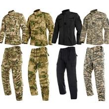 Для взрослых мужчин Охота Военная форма пустыня обучение камуфляж тактические пальто куртка брюки набор для мужчин Спецназ США армейский костюм