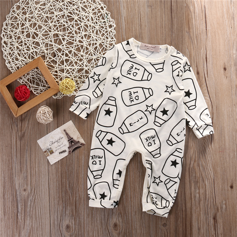 Cute Baby Girl Boy Jumpsuits 0-18M Fall Winter Newborn Infant Baby Cotton Feeding bottle   Romper   Outfits Clothes Long Sleeve