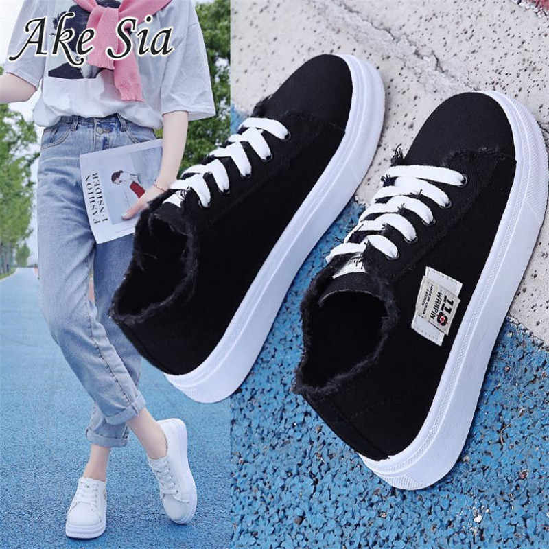 Das 2019 mulheres novas das sapatas de lona de primavera e outono denim sapatos respirável leves sapatos de lona plana casuais plana