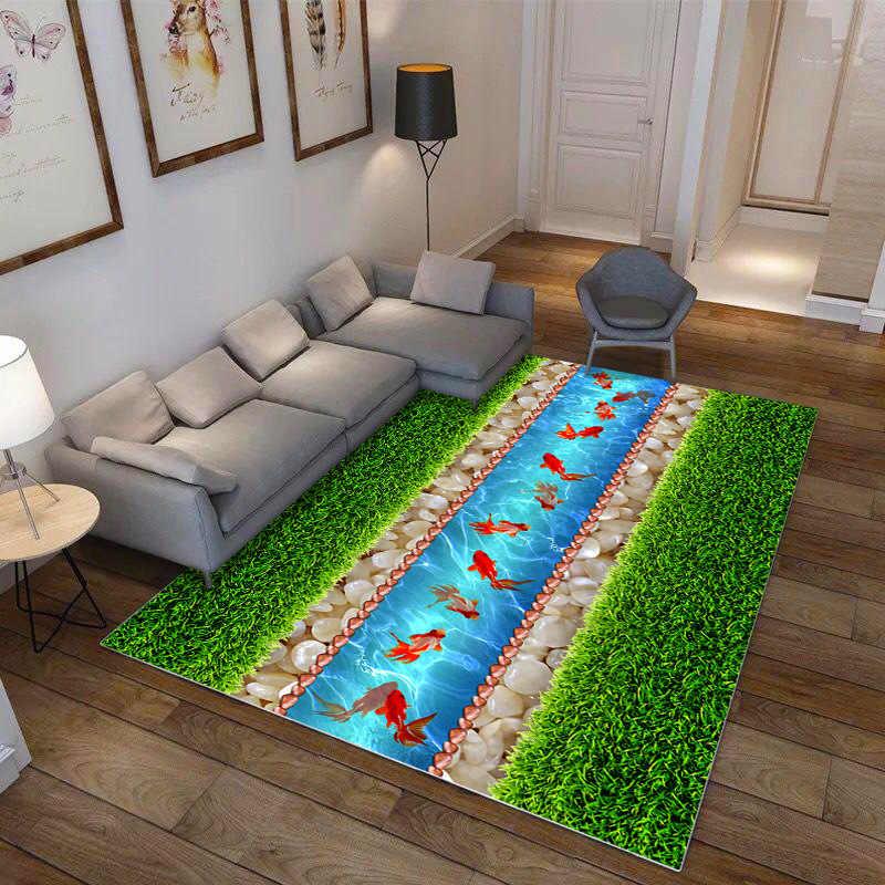 Natura Verde 3D Effetto Tappeto di Alta Qualità Pastorizia Tappeti Parlor Camera Da Letto Pavimento Esterno Zerbino Soft Anti-slip Da Comodino Coperta