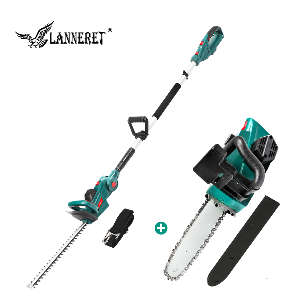 LANNERET 20V Cordless Pole Hedge Trimmer Chain Saw Dual Action Blades Saw 2.0Ah Battery And Charger Household Garden Tool