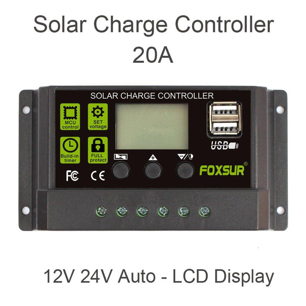 FOXSUR 20A de controlador de carga Solar PWM controladores LCD Dual USB salida 5V Panel Solar PV regulador Plegable 20W USB Panel Solar portátil plegable impermeable cargador de Panel Solar cargador de batería móvil