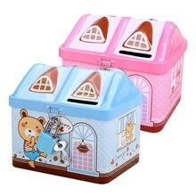 Alcancía con forma de Casa de Metal para niños, caja de almacenamiento segura para moneda, candado con llave de estaño, con dibujos animados, regalo