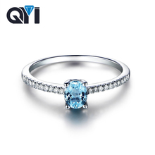 QYI Simple Natural Topaz Ring For Women Trendy 0.5 ct Oval Cut Gemstone Engagement Wedding Rings S925 silver Fairy Jewelry