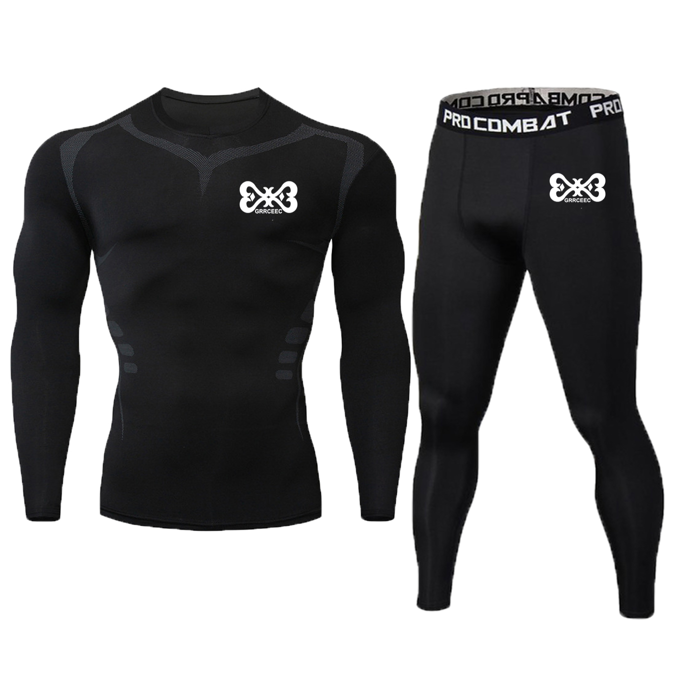 New Printing Long Sleeve + Trousers Men's T-shirt Compression Training Running Running Fitness Clothing Brand Suit T-shirt MMA