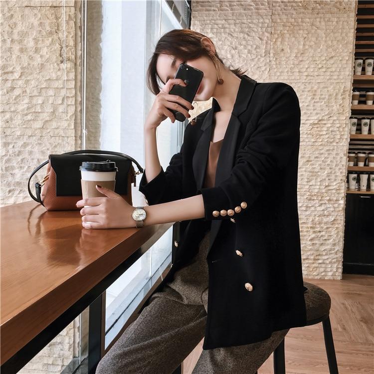 New Autumn Winter Blazer Feminino Elegant Double Breasted Women Long Coat Slim Fit Office Lady Work Wear LX2172