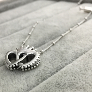Image 2 - 2019 100% 925 Sterling Silver ClassicCrown & Interwined Hearts Pendant Necklace Women Charm Fashion Personality Jewelry