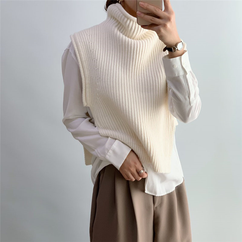 HziriP Gentle Turtleneck Sleeveless Jumpers New Design 2020 Chic Women Vest Brief Office Lady Knitted Women Pullovers Sweater