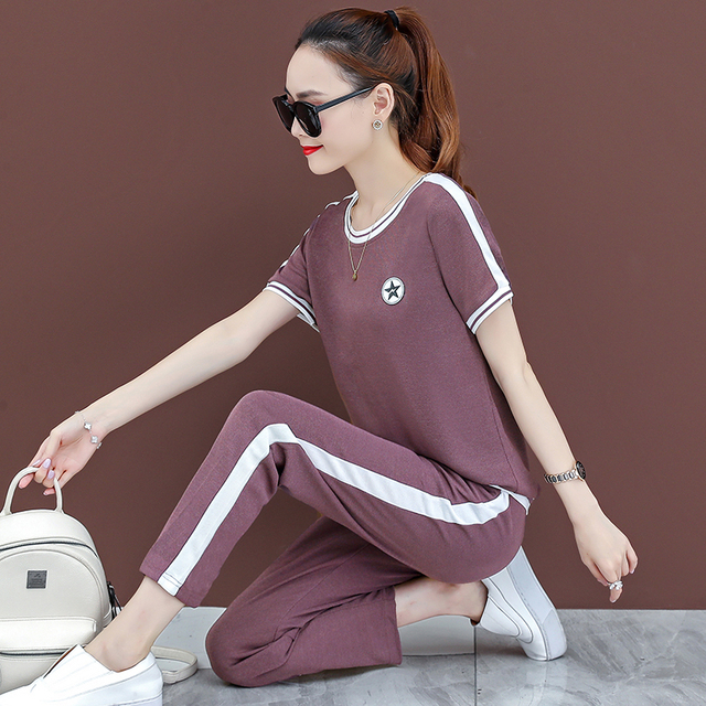 plus size two piece set summer top and pants 2 piece set women korean style tracksuit clothes oversized outfits  fashion 2020