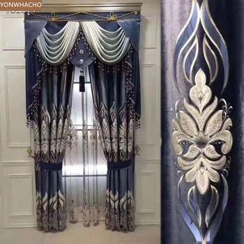 Custom curtains laser embroidered upscale living room villa blue thick velvet cloth blackout curtain tulle valance drape B641