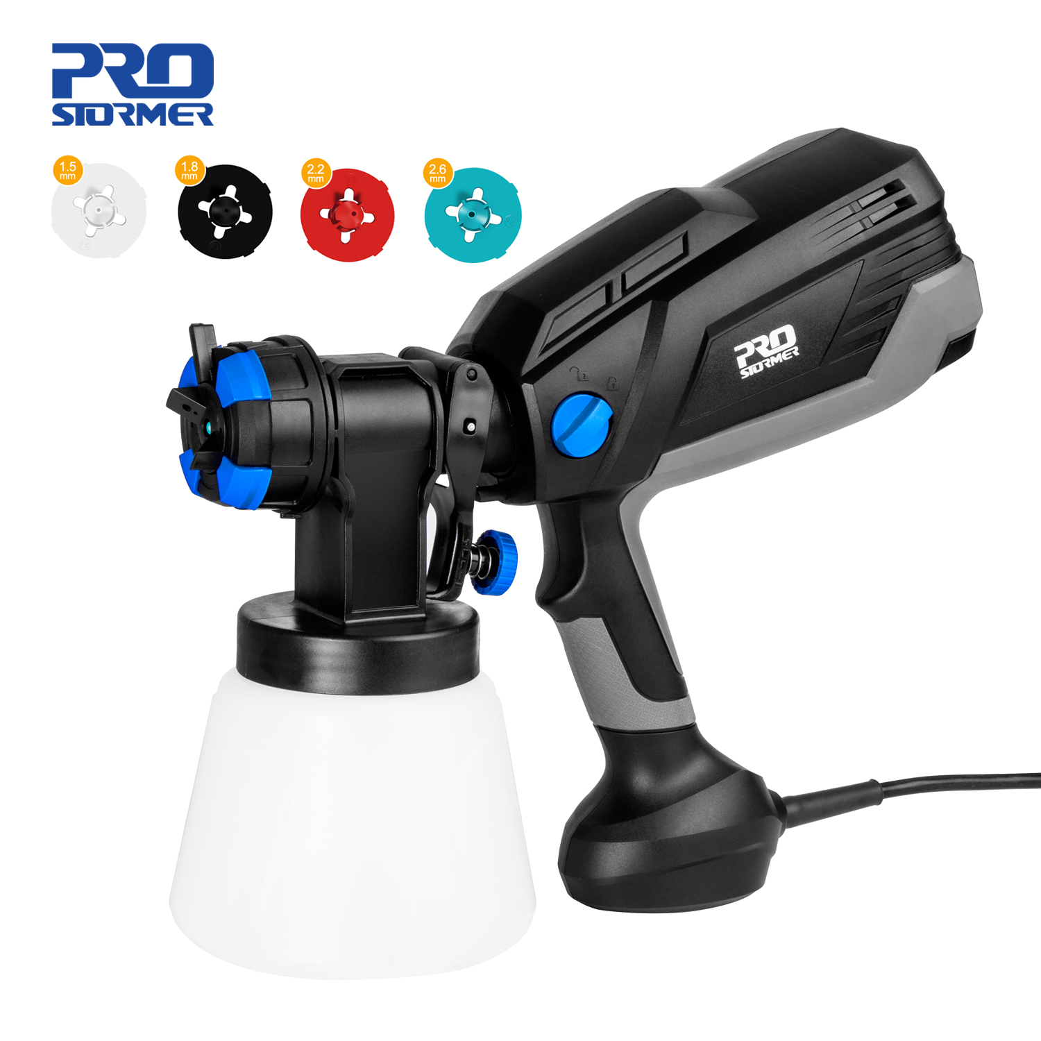 600W Electric Spray Gun 4 Nozzle Sizes 1000ml HVLP Household Paint Sprayer Flow Control Airbrush Easy Spraying by PROSTORMER|Spray Guns|   - AliExpress