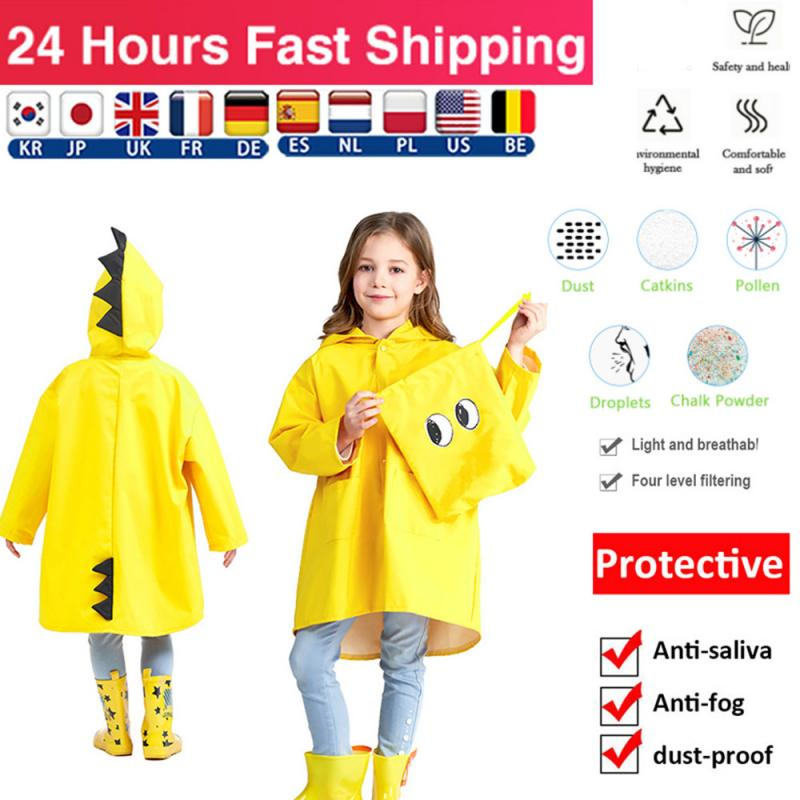 Fashion Dinosaur Kindergarten Protection Splash Proof Waterproof Anti-fog Sand Contro Polyester Rain Coat Household Accessories(China)