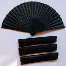 Черный винтажный складной Ручной Веер в китайском стиле, для танцев, свадебных вечеринок