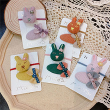 Kids Children Girls Elastic Hair clips Bands Sets Korean Cartoon Rabbit Cute Fall Winter Head wear Hairpins Accessories-SWD-W7