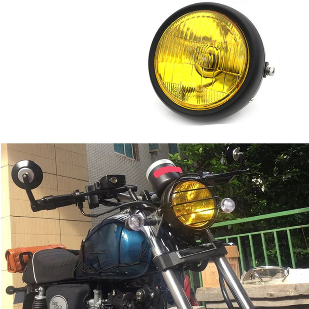 GN125 Retro Headlights Motorcycle Modified Universal Headlights Black Shell Headlights Far And Wide Headlights Round Lights