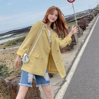 Photo Shoot INS Autumn Clothing New Style Lemon Yellow of Straight Textured Double Breasted Waist Hugging Lace up Suit Jacket Wo