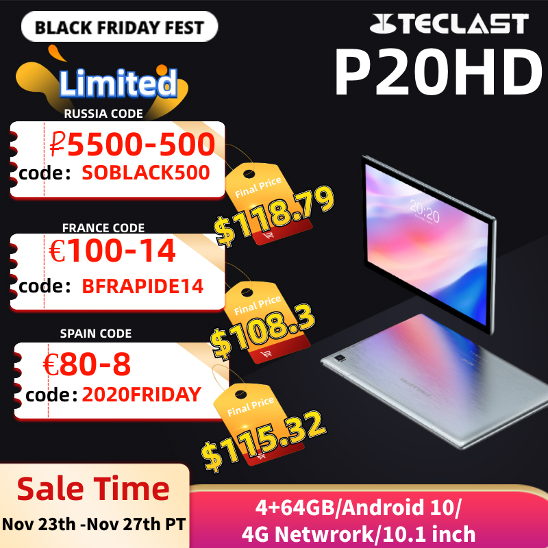 Teclast P20HD 4G Phone Call Tablets Octa Core 10.1 inch IPS 1920×1200 4GB RAM 64GB ROM SC9863A GPS Android 10 tablet PC Tablets  – AliExpress