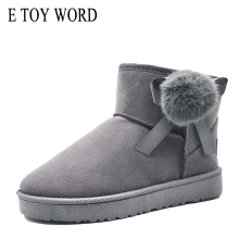 E TOY WORD Fur Ball Snow Boots Women Shoes Winter Ladies cotton boots plus velvet warm fur one short Slip On women