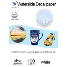 100 Sheets No Need Coating Oil Water Slide Laser Paper WHITE Laser Letter Size 8.5