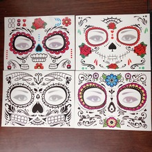 Sugar Skull Mask Halloween Beauty Face Tattoo Waterproof Temporary Tattoo Stickers Makeup party Mexican Day of the Dead tattoos