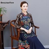 2019 elegant retro chinese women cheongsam tops embroidered printed qipao tops traditional classic lace sleeves qipao blouse