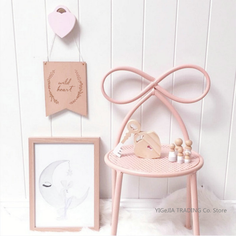 INS Style Lovely Bow Metal Chairs, Girls Dresser Seat, Modern Minimalist Bedroom Backrest Makeup Stool