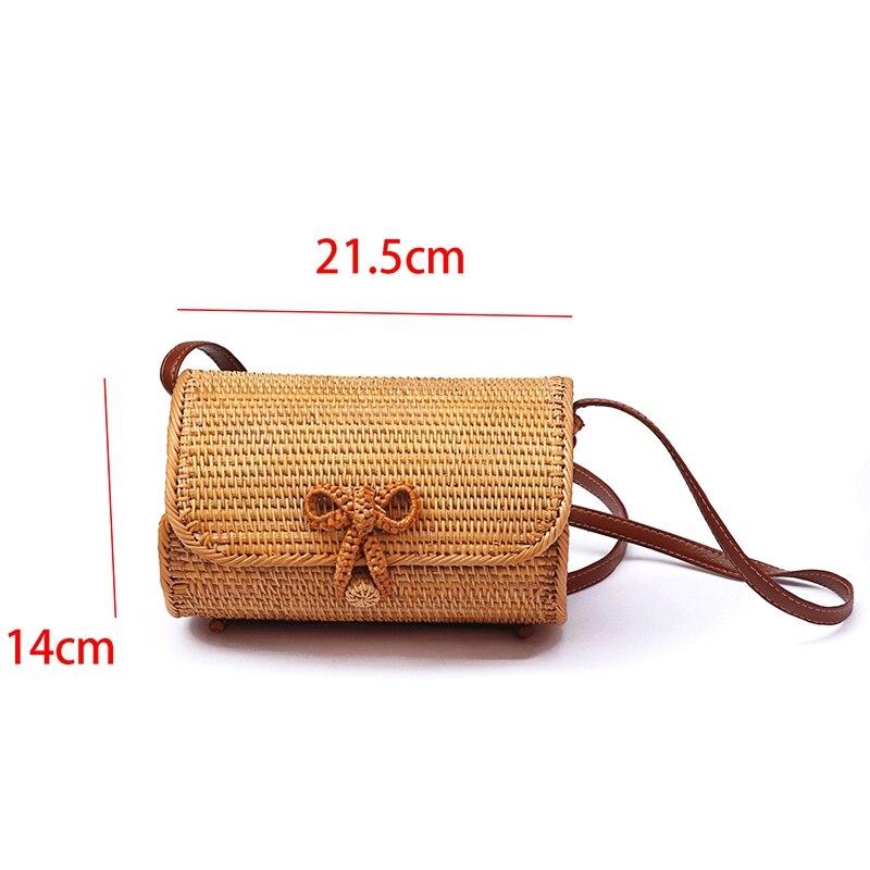 Ручная плетеная БАЛИЙСКАЯ прямоугольная Ретро ротанговая Соломенная пляжная сумка через плечо Маленькая квадратная сумка Роскошные сумки