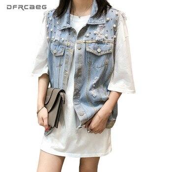 цена Vintage Spray Painting Ripped Denim Vest Woman 2020 Summer Sleeveless Jean Jacket Women Gilet Streetwear Waistcoat Femme онлайн в 2017 году