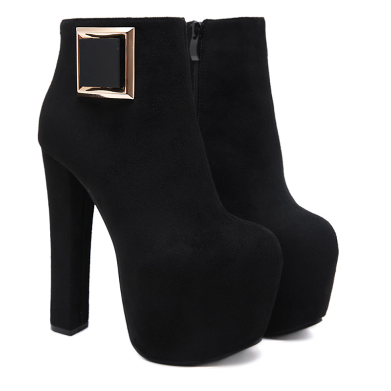 Ankle Boots Women Platform High Heels Female fall boots Women 39 s Shoes Woman Short Boot Ladies Footwear sexy black boots YMA917 in Ankle Boots from Shoes