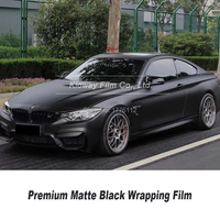 Highest quality matte black vinyl wrap black wrapping Film car wrap matte black vinyl low initial tack adhesive quality Warranty