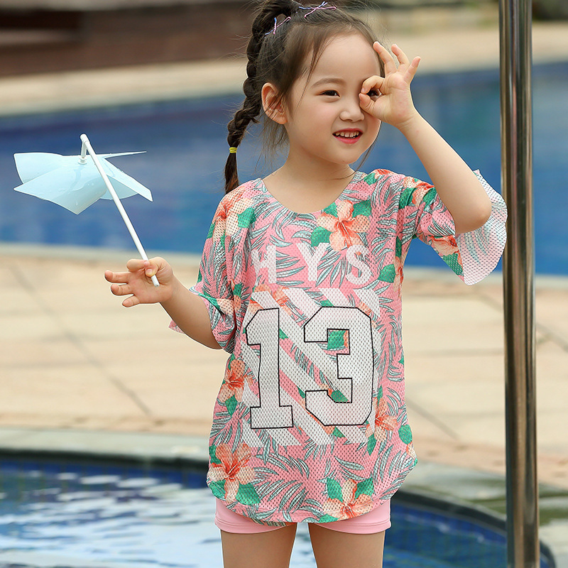 KID'S Swimwear GIRL'S Three-piece Set Large Children Princess Split Skirt-Short Sleeve Baby Girls Swimwear