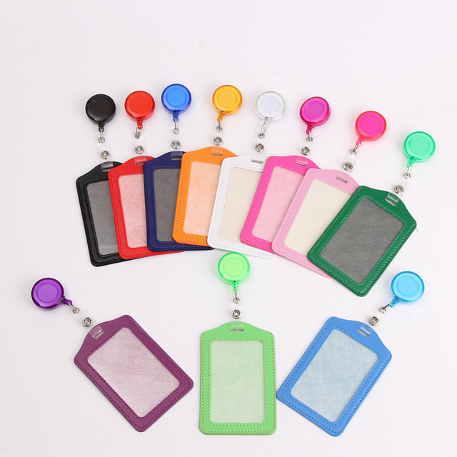 Credit Card Holders With Retractable Badge Reels Clip Name Badge Office School Supplies Identity Badge Protective Card Cover 2