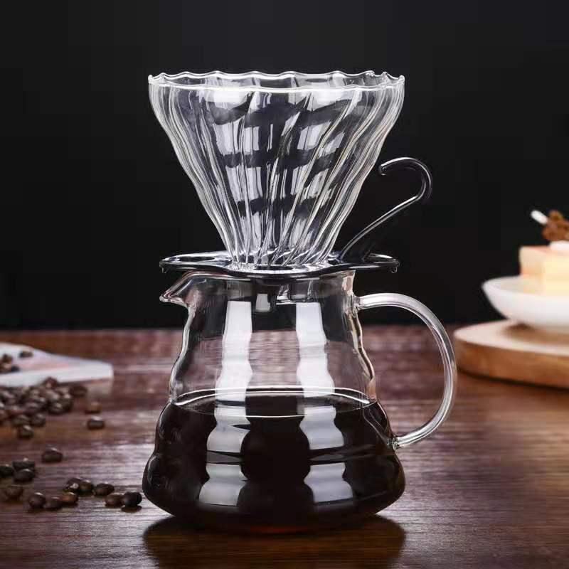 V60 кофе фильтр стеклянный кофейник 600 мл с крышкой portafilter постоянный фильтр Кофеварка гейзер капельная капельница чайник espress