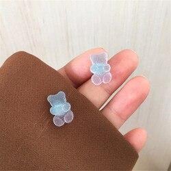 2021 New Arrival Handmade Gummy Resin Bear Stud Earrings For Women Girl Funny Colorful Matte Cartoon brincos Piercing Jewelry