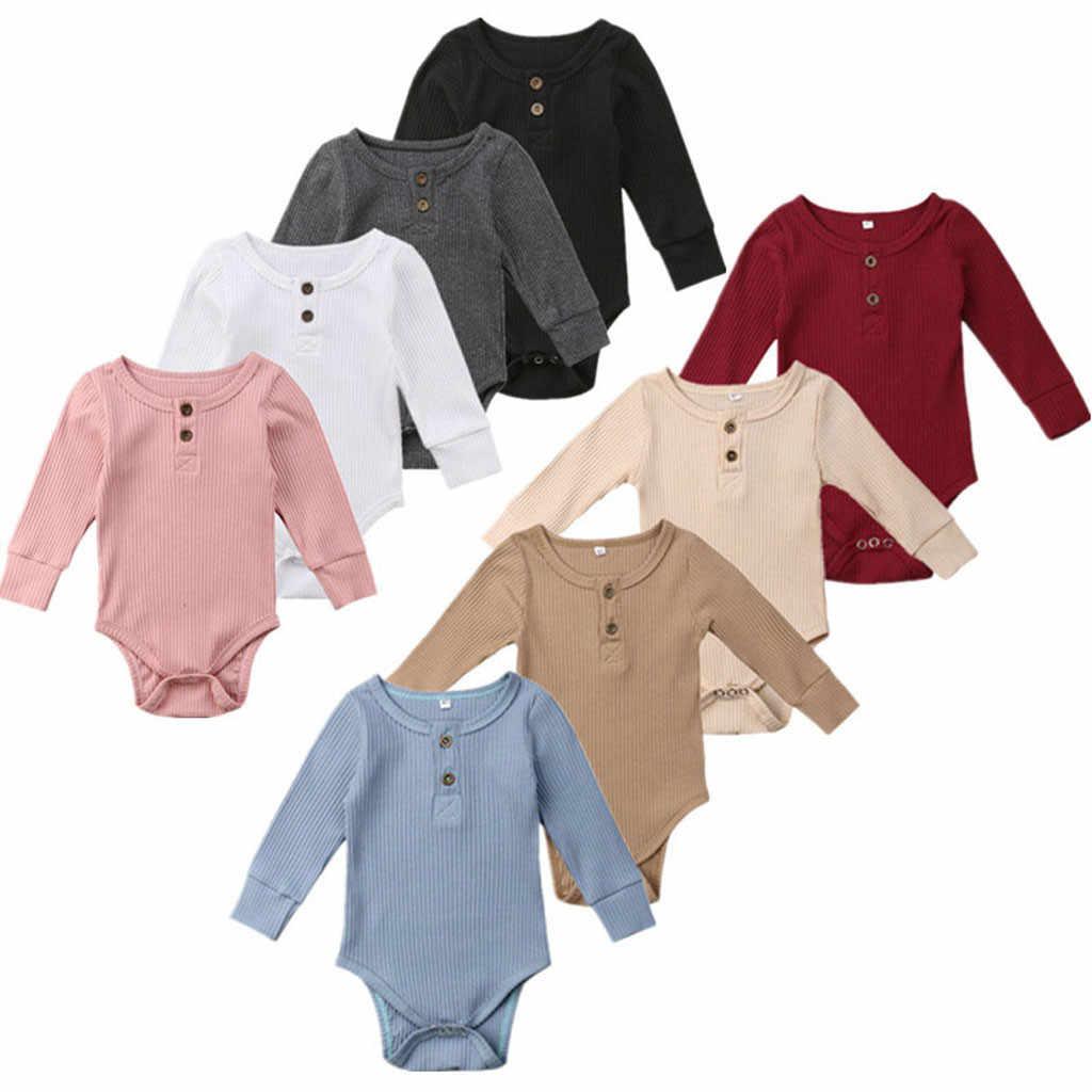2019 Color sólido bebé recién nacido niñas manga larga algodón suave mono muy cómodo chico