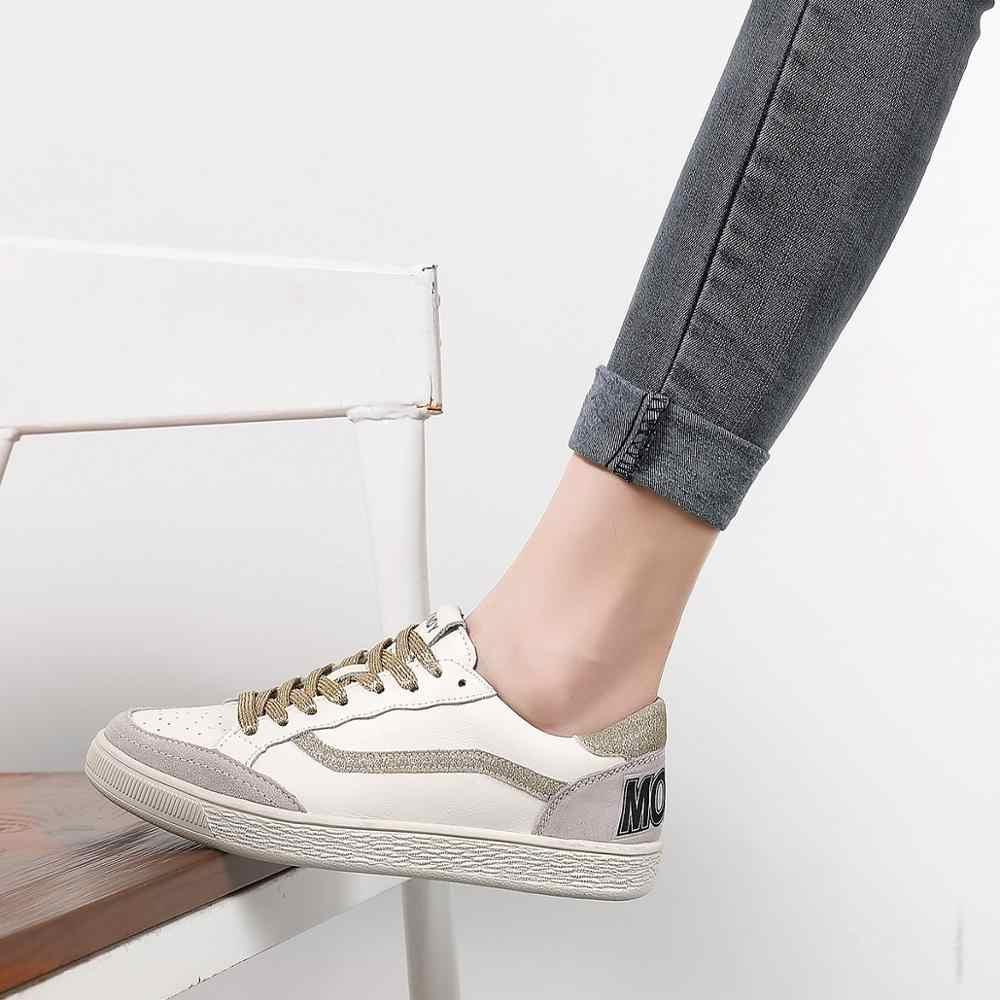 3 renk Kadın rahat ayakkabılar Rahat Altın Siyah Sneakers Moda Dantel-up Deri Daireler Ayakkabı
