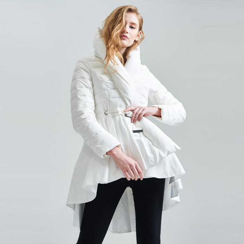 2019 high quality winter white duck   down   jackets Women's skirt hem asymmetrical warm thick long   down     Coat