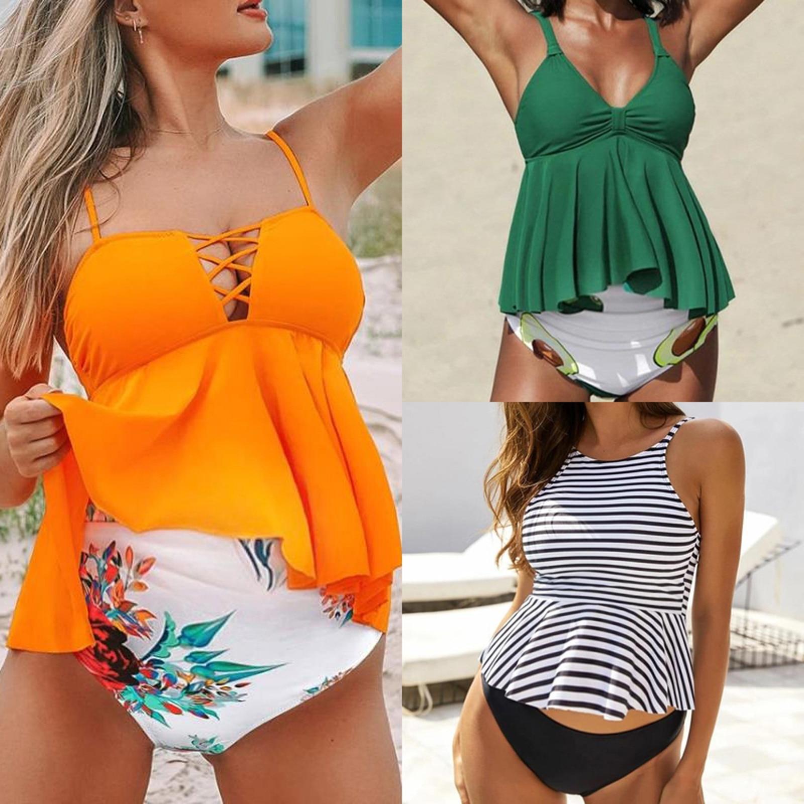 Impressão de duas peças para mulher roupa de banho para grávidas maiô de natação beachwear roupas para grávidas mujer premama verano
